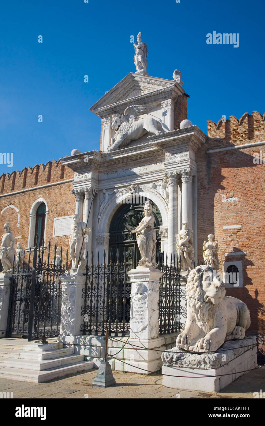 Arsenale main entrance gate to naval dockyard Castello district Venice Veneto Italy Europe EU - Stock Image