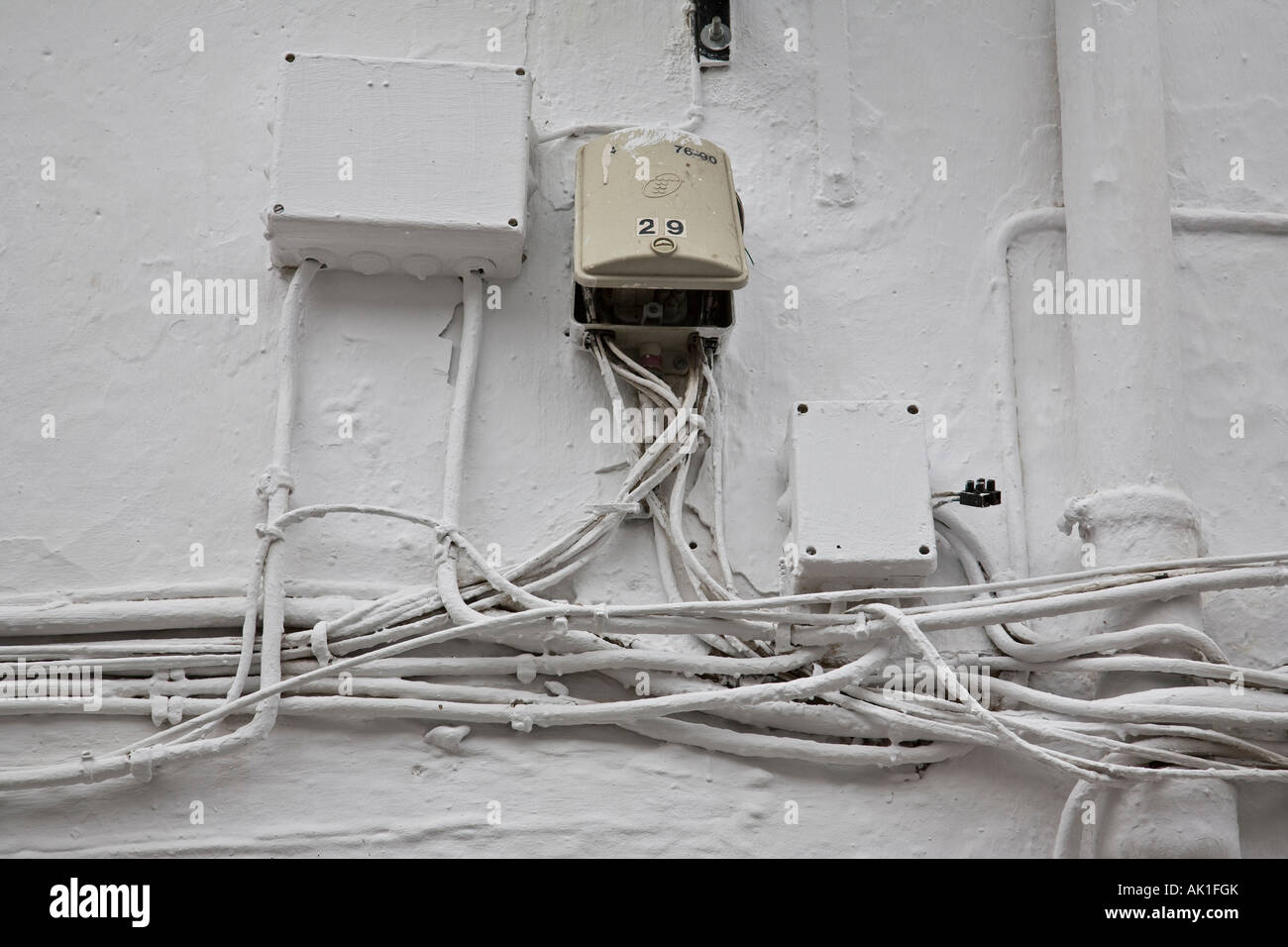 tangled electrical wiring on the outside of a building el gastor rh alamy com outside electrical wiring code electrical code outdoor wiring