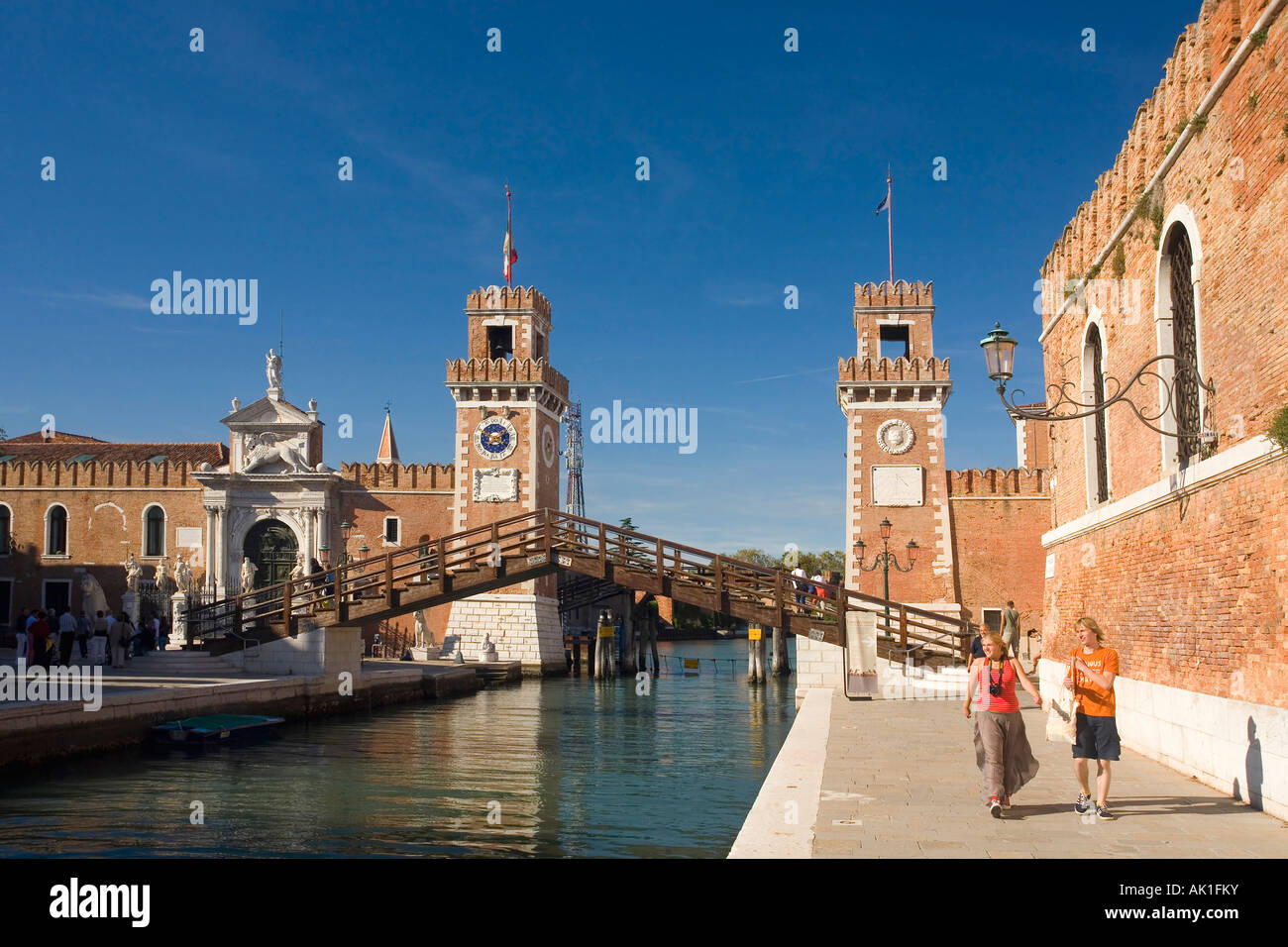 Rio dell Arsenale bridge and entrance fort to naval dockyard Castello district Venice Veneto Italy Europe EU - Stock Image