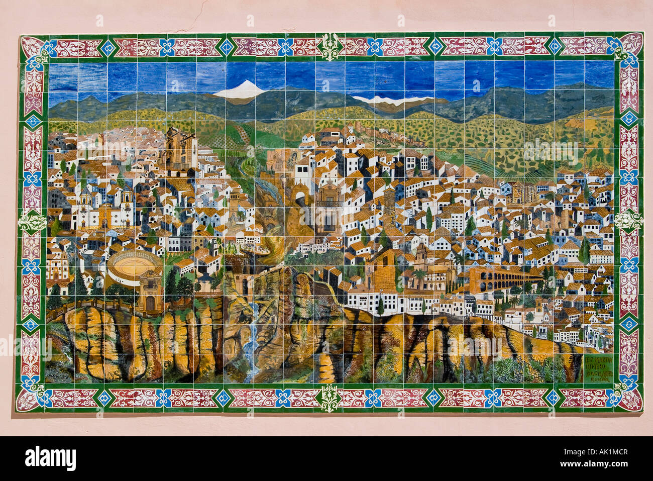 Tiled pictorial map of Ronda, Andalucia, Spain - Stock Image