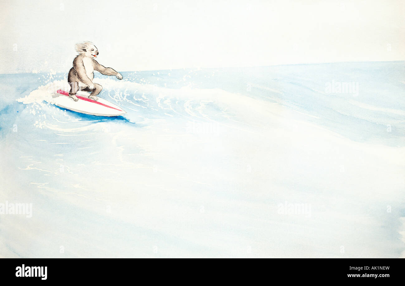 Illustration concept of Koala surfing. Australia. - Stock Image
