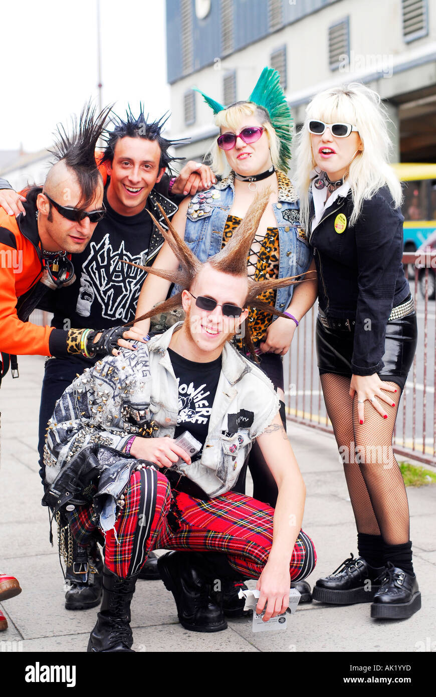 Punk rockers arrive for the Wasted Festival in Blackpool,England - Stock Image
