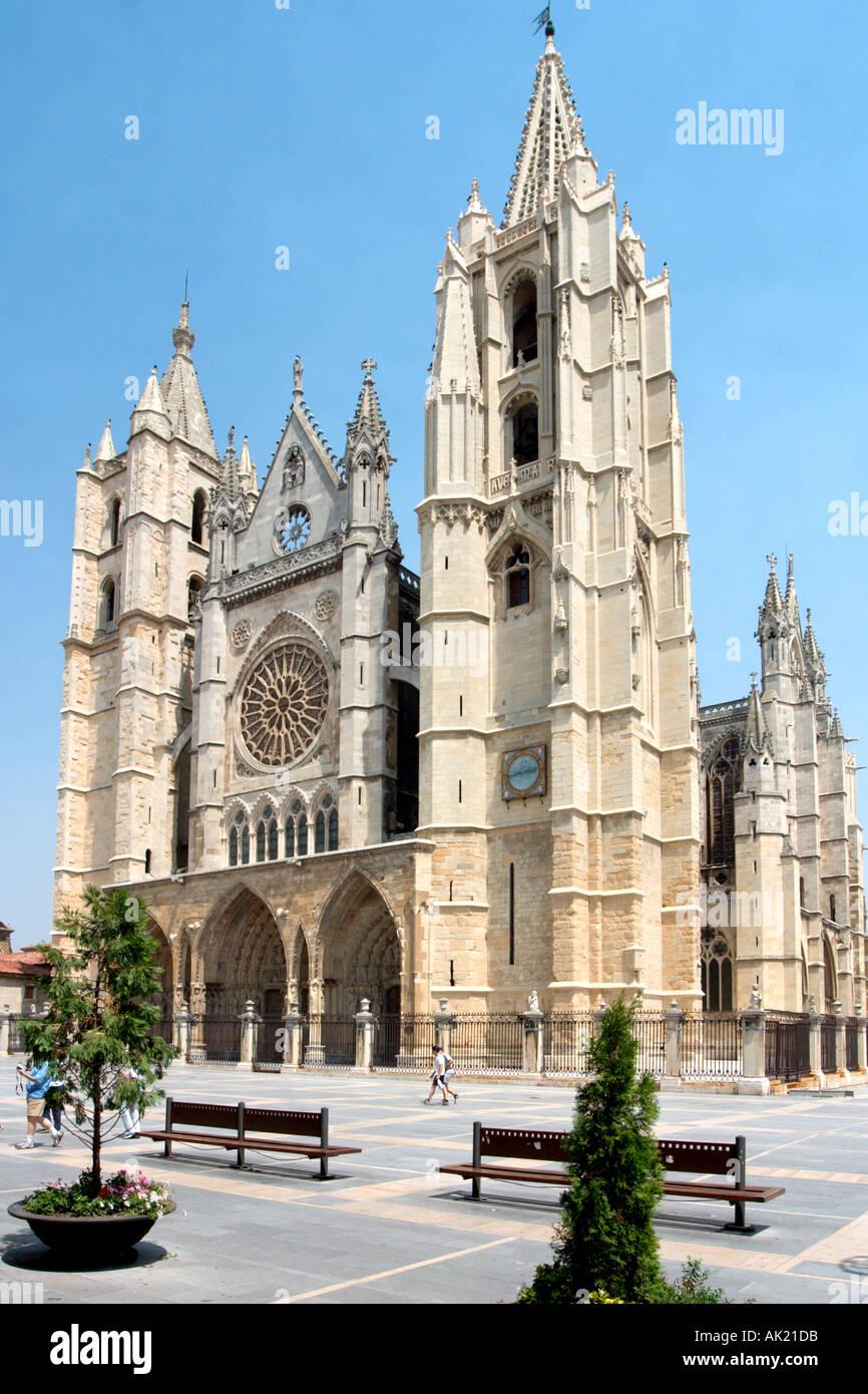 Cathedral, Plaza Regia, Leon, Castilla y Leon, Spain - Stock Image