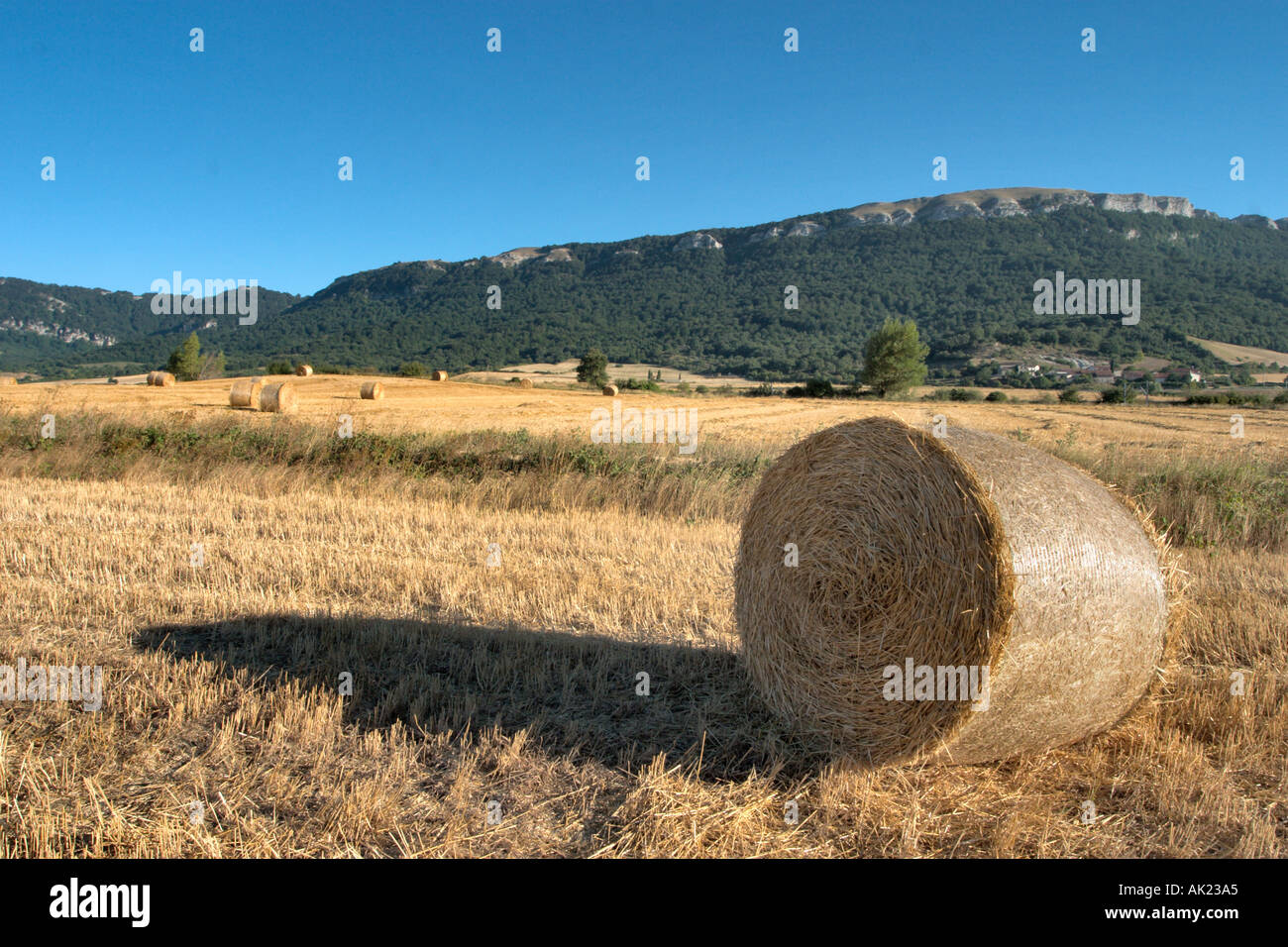 Landscape west of Pamplona, Navarra, Basque Country, Spain - Stock Image