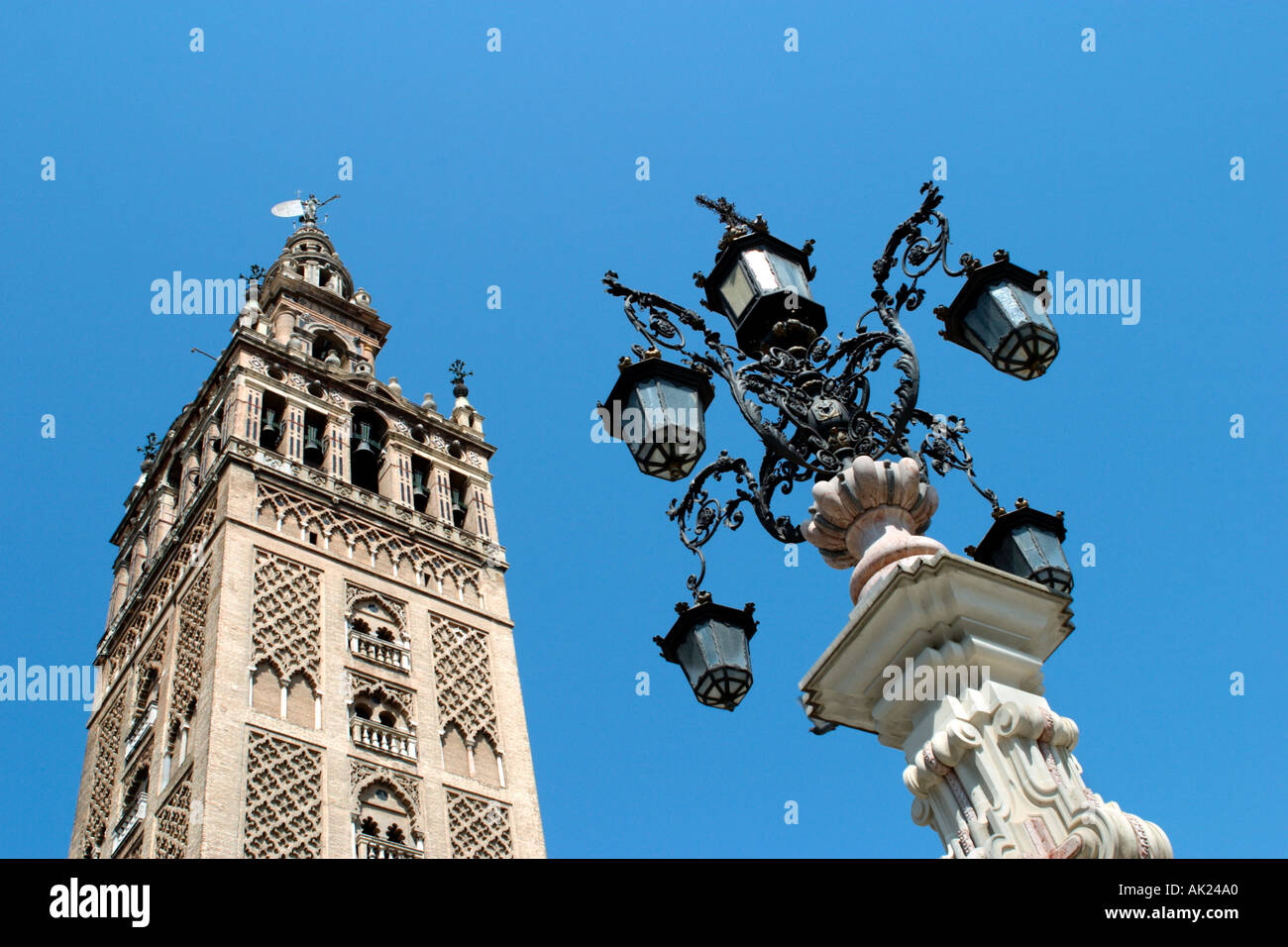 La Giralda tower above the Cathedral in Seville, Andalucia, Spain - Stock Image