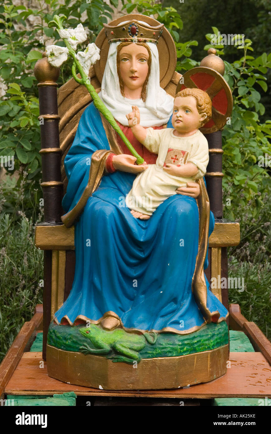 Walsingham Pilgrimage. A statue of Our lady of Walsingham Little Walsingham North Norfolk England HOMER SYKES - Stock Image