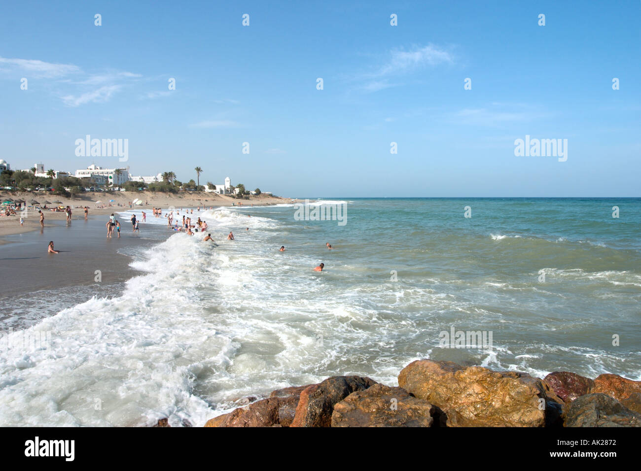 Beach in Mojacar, Almeria, Andalucia, Spain - Stock Image