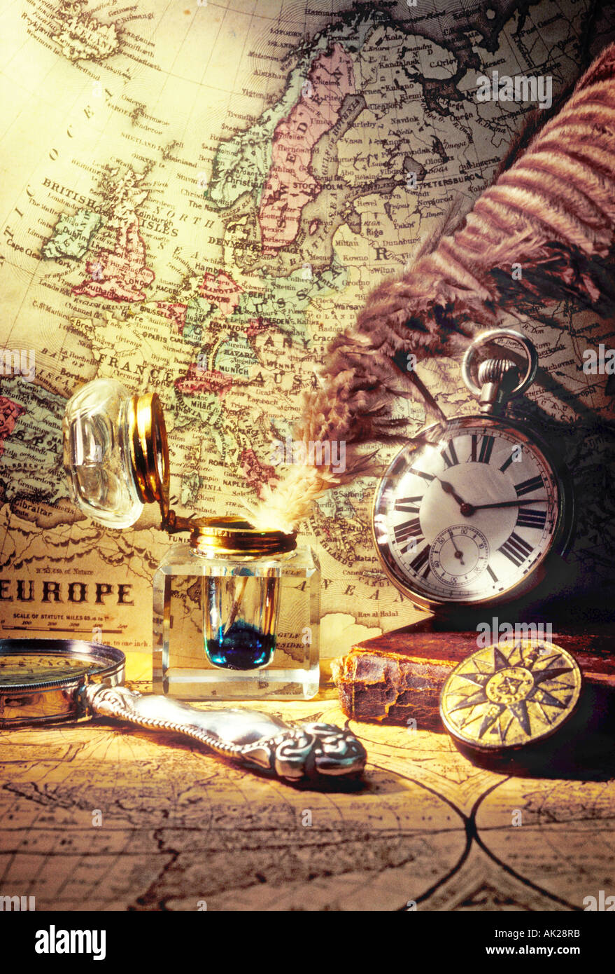 Old maps and ink well - Stock Image