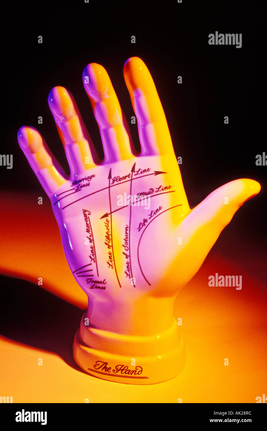 Fortune telling hand - Stock Image