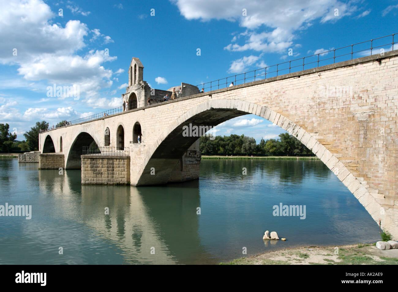 Pont d'Avignon (Pont St Benezet), River Rhone, Avignon, Provence, France - Stock Image
