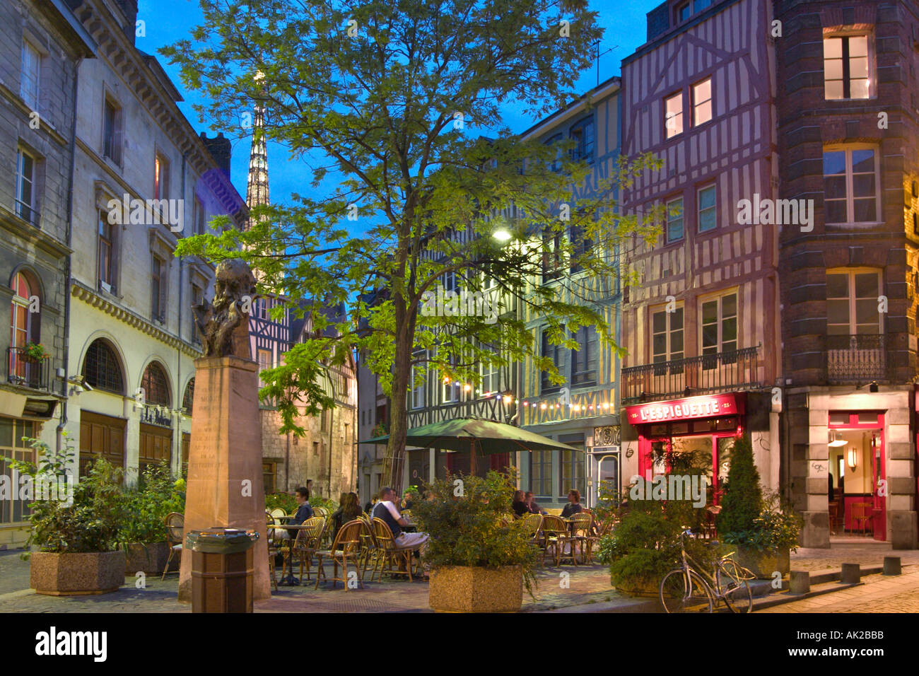 Restaurant at night in the Old Town, Rouen, Normandy, France - Stock Image