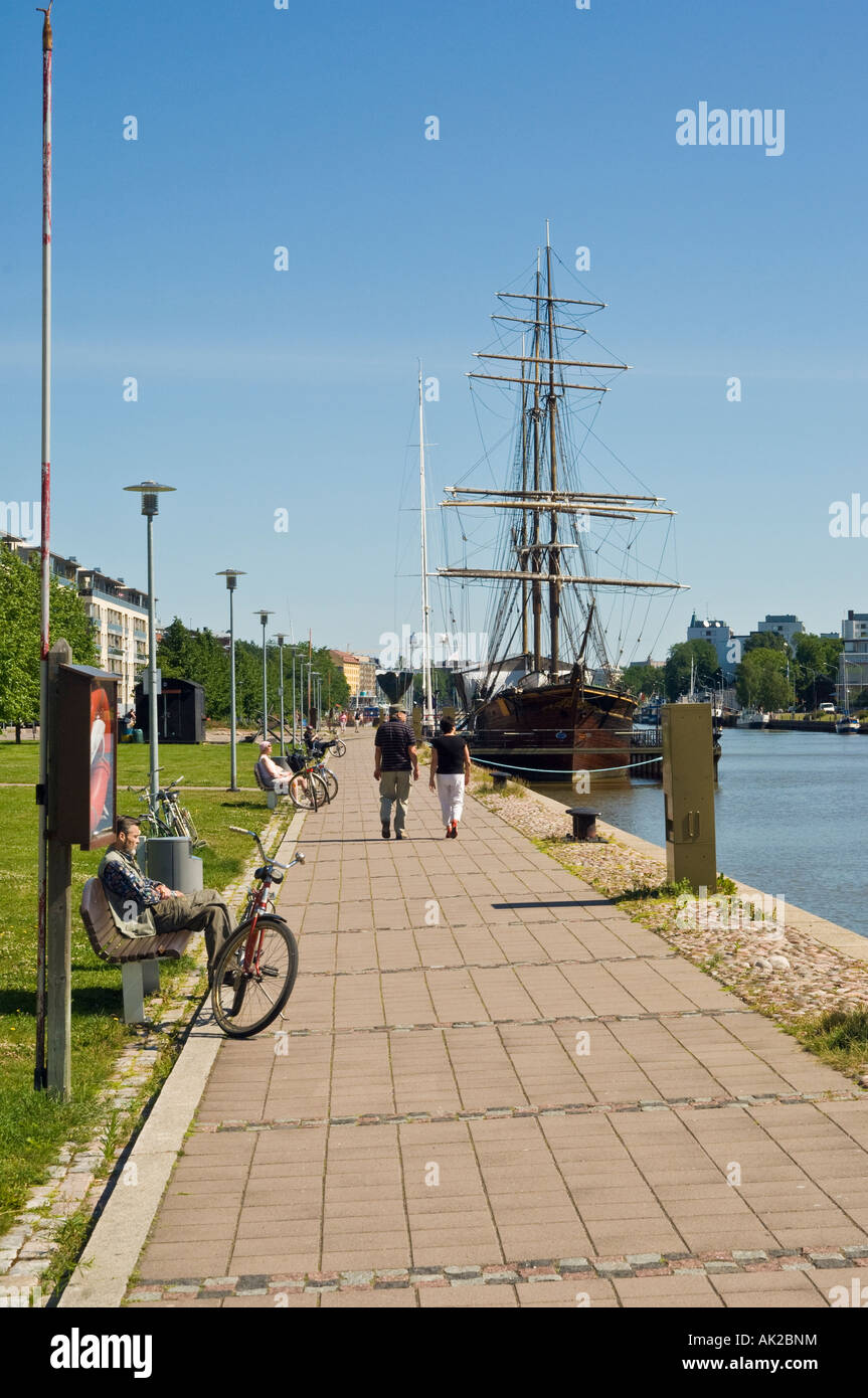 Waterfront view on the River Aura in Turku Swedish Åbo Finland with the sailing barque Sigyn - Stock Image