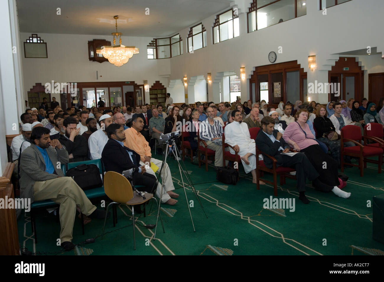 Audience at a conference in Edinburgh Central Mosque, Scotland Stock Photo