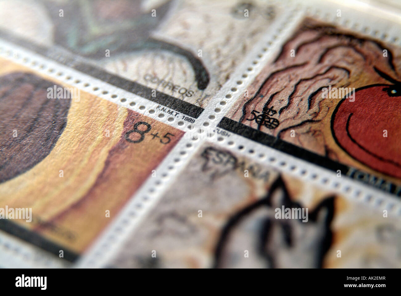 Collection of postage stamps from Spain - Stock Image