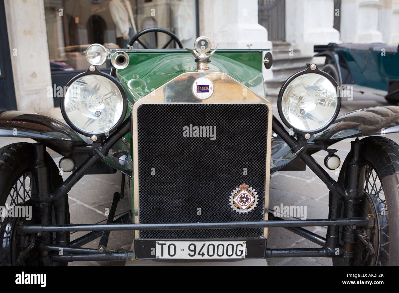 Old Lancia car interior Vicenza Veneto Italy - Stock Image