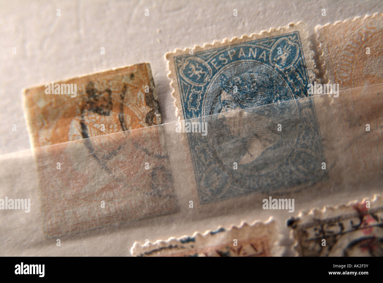 Collection of ancient postage stamps from Spain - Stock Image