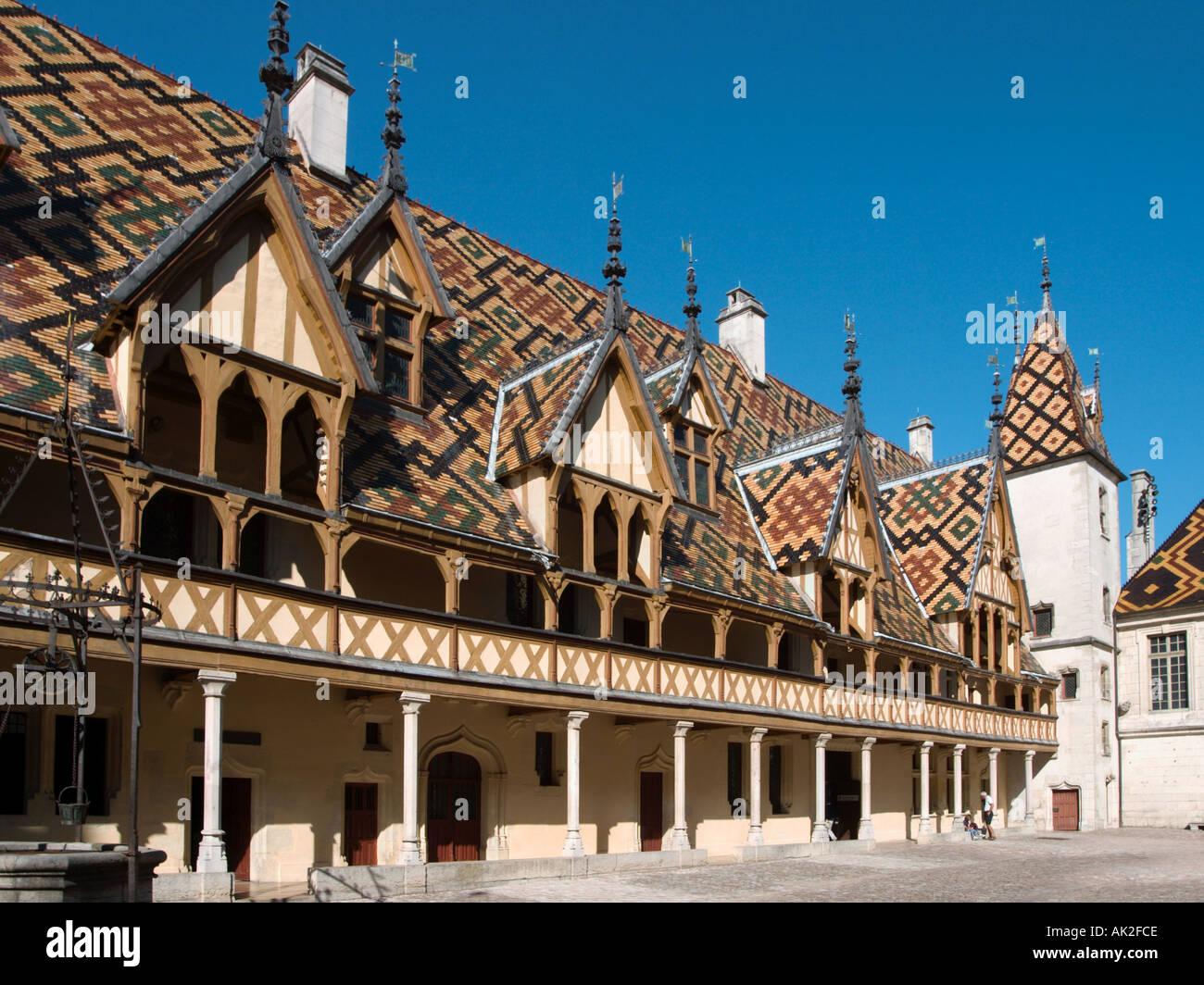 Hospices de Beaune or Hôtel-Dieu de Beaune, Beaune, Cote d'Or, Burgundy, France - Stock Image