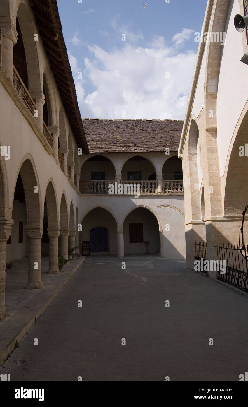 Monastery of the Holy Cross in the village of Omodos in the Limassol district of the Troodos Mountain range, Cyprus Stock Photo