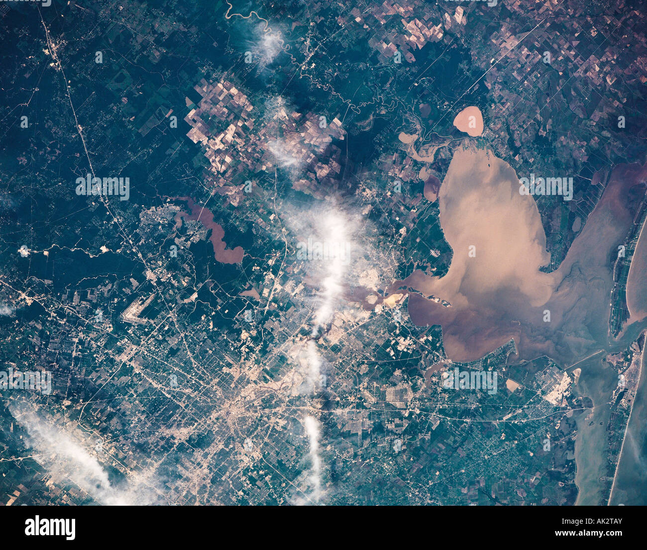 Travel, United States of America, Texas, Houston metropolitan area, View from space, - Stock Image