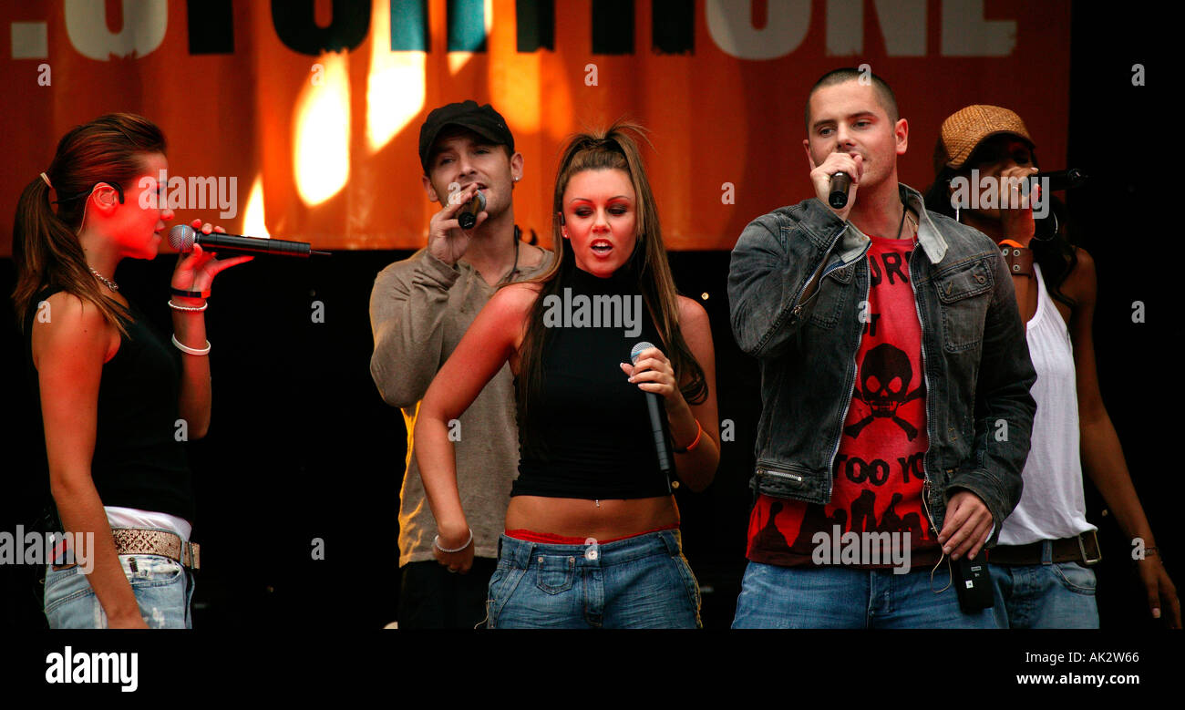 Pop Group Liberty X performing on stage in Edinburgh Princes Street Gardens Stock Photo