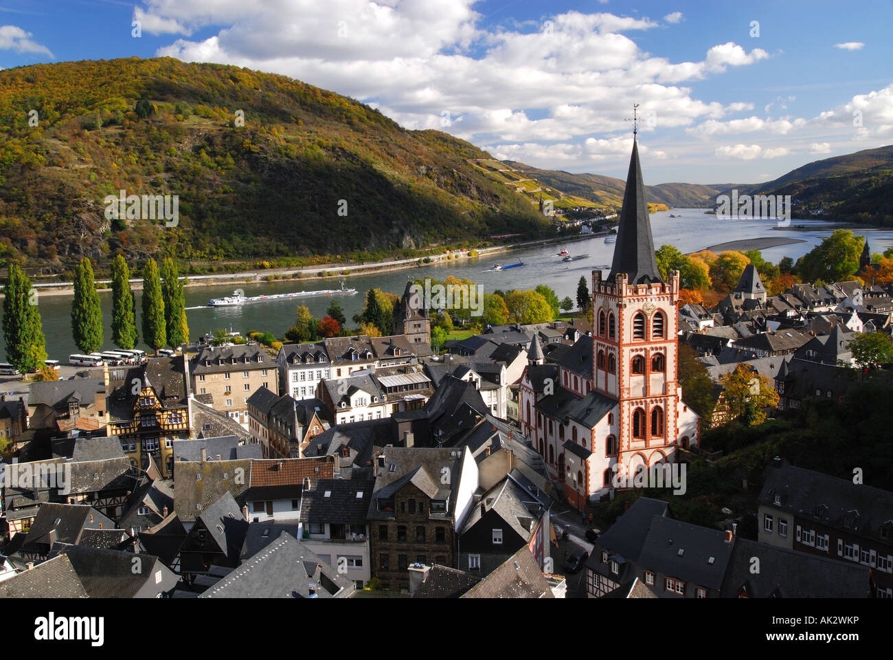 Rhine valley town of Bacharach, St. Peter's Church, Germany Stock Photo
