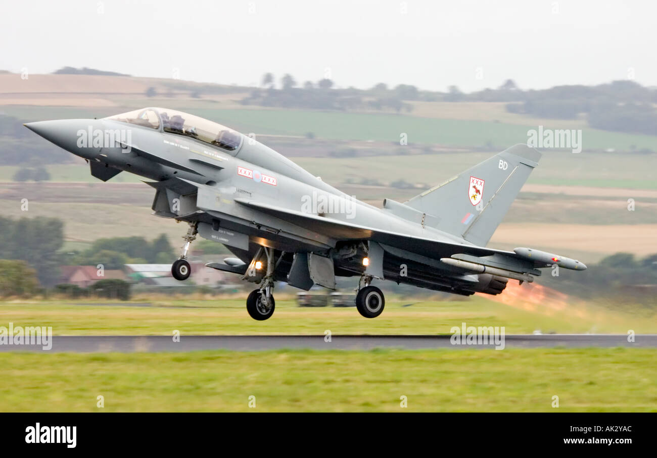 RAF Typhoon T1 29 R Squadron Eurofighter aircraft taking off on full afterburner Stock Photo