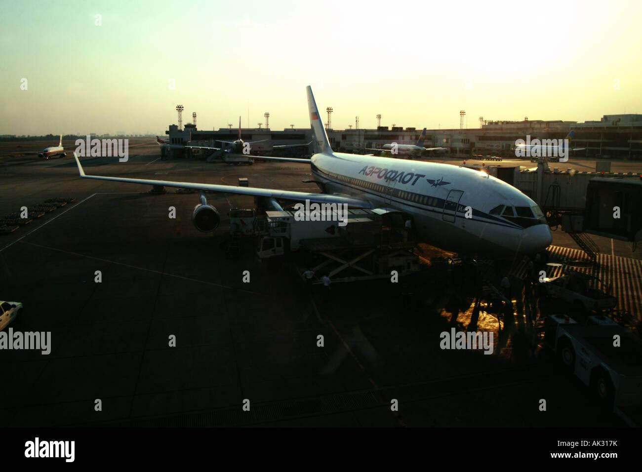An Aeroflot plane sits on the runway in Bangkok International airport - Stock Image
