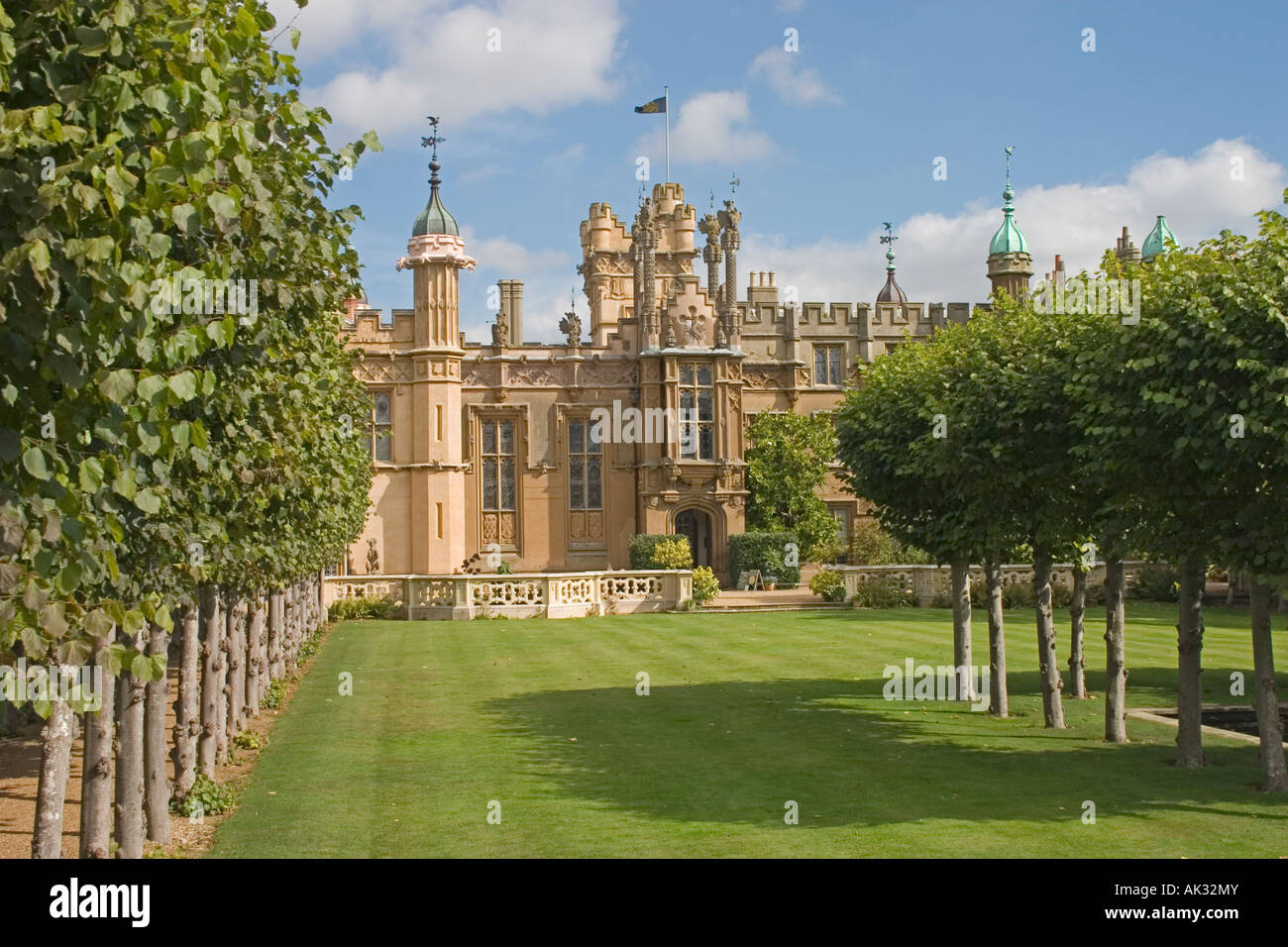 Knebworth House, a stately home in the english county of Hertfordshire, and gardens - Stock Image
