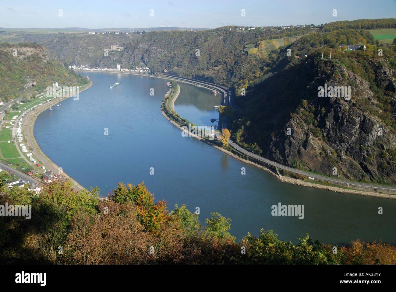 Legendary Loreley rock, Rhine valley, Germany Stock Photo
