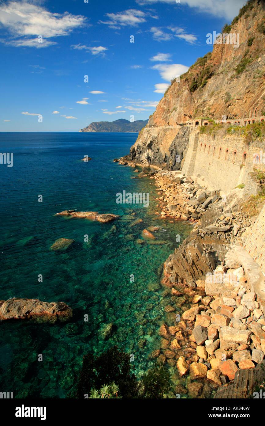 Via dell Amore from Riomaggiore to Manarola, Cinque Terre, Liguria, Italy. - Stock Image