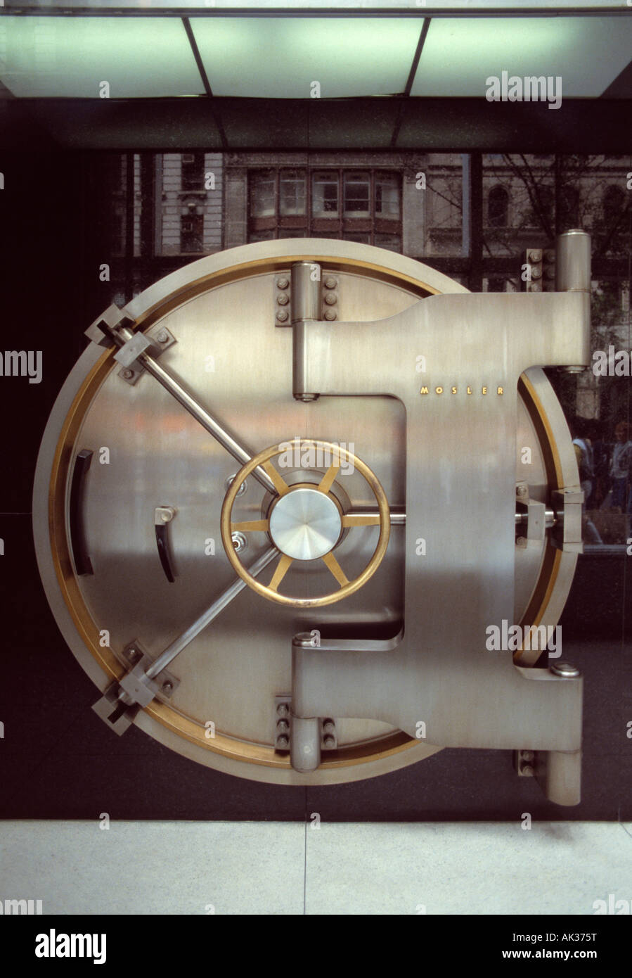 Close up of bank vault security door. - Stock Image