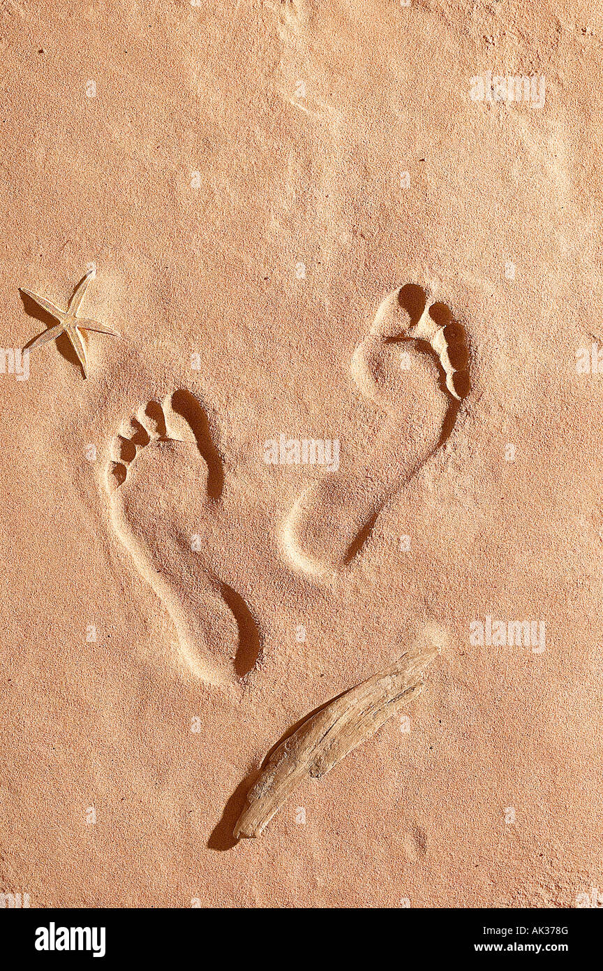 HUMAN FOOT PRINTS IN SAND WITH STAR FISH AND DRIFT WOOD - Stock Image