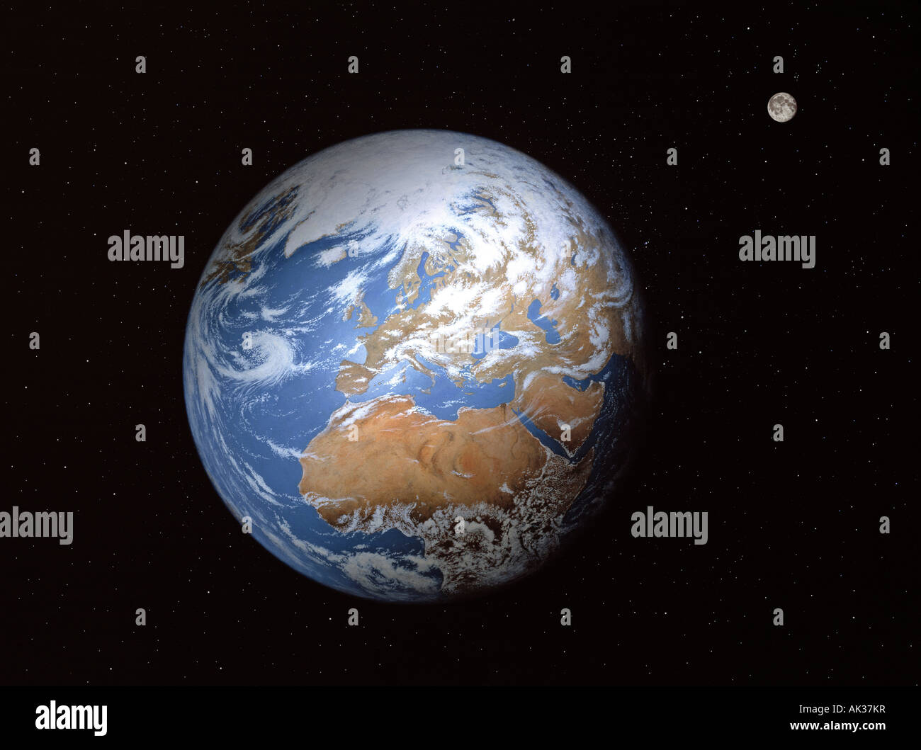Painting of planet earth showing the Arctic, Europe, Middle East and Africa with the moon. - Stock Image