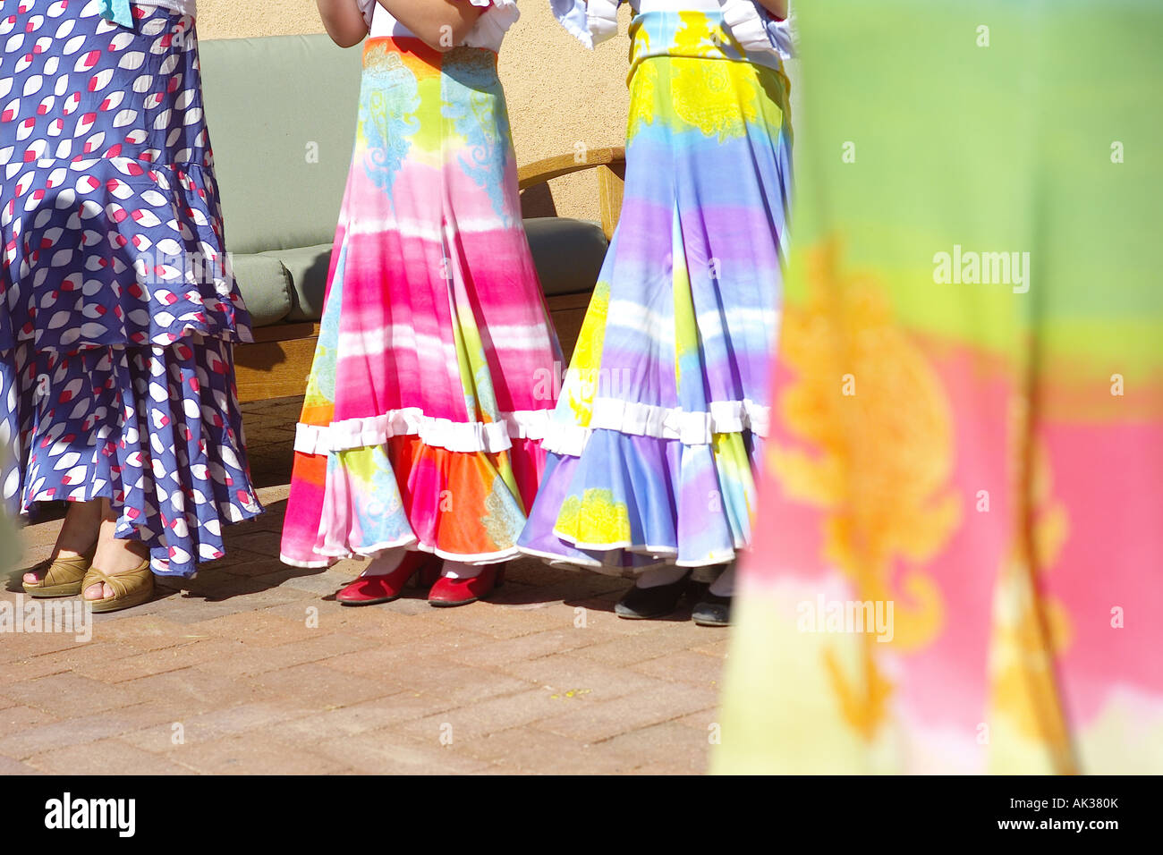 Flamenco Dancers outdoors in the summer. - Stock Image