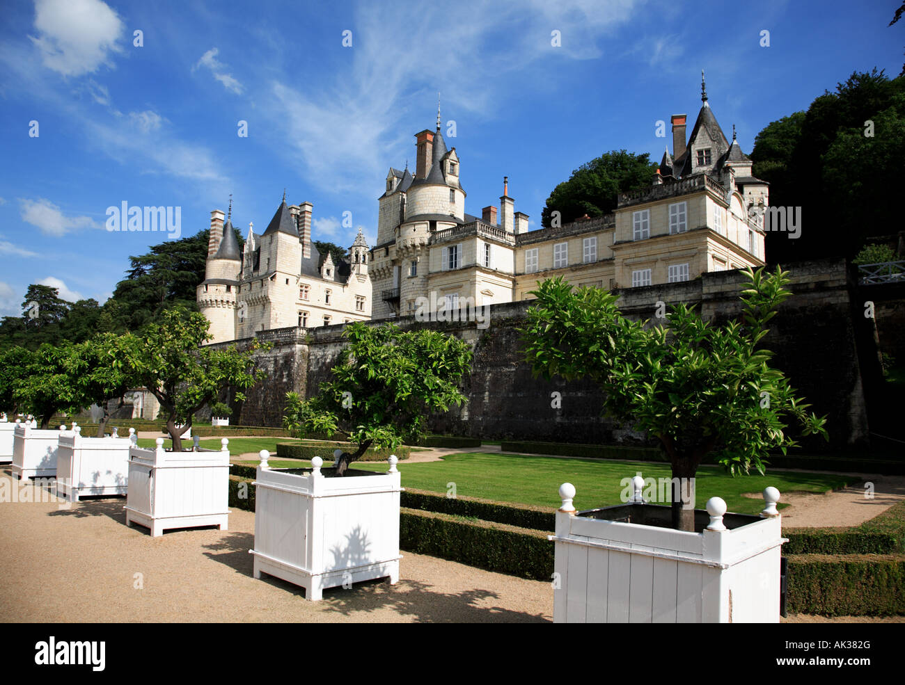 The Gardens and Château d Ussé in the Indre et Loire Centre France - Stock Image