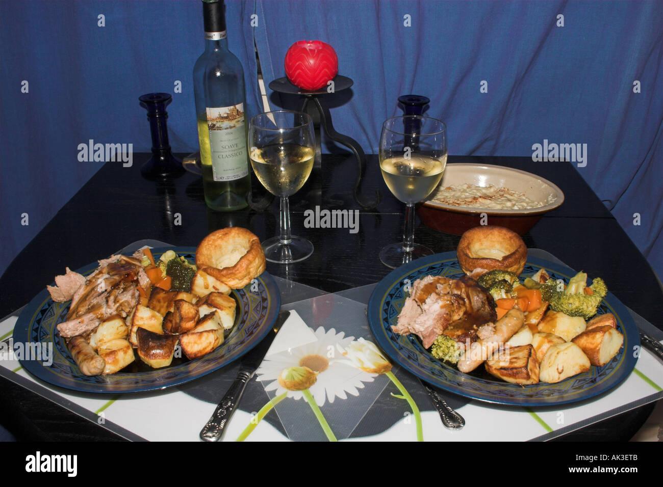 traditional english christmas dinner stock image
