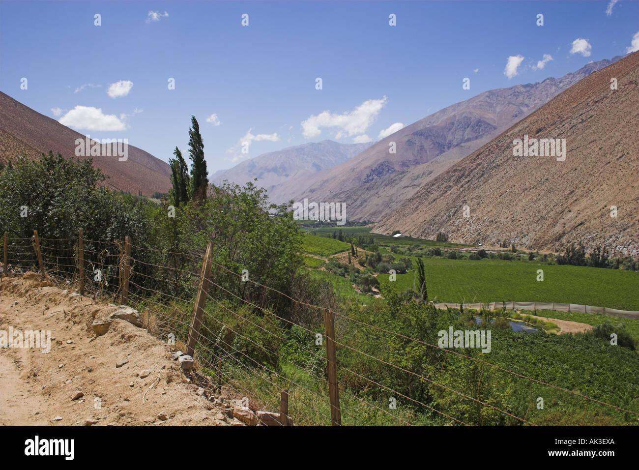 Valley of Pisco Elqui Stock Photo