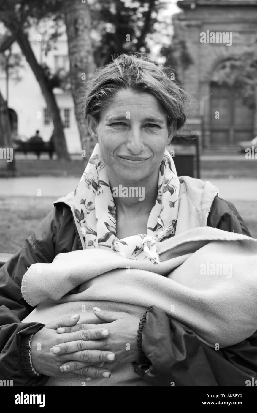 Gypsy woman and baby Stock Photo
