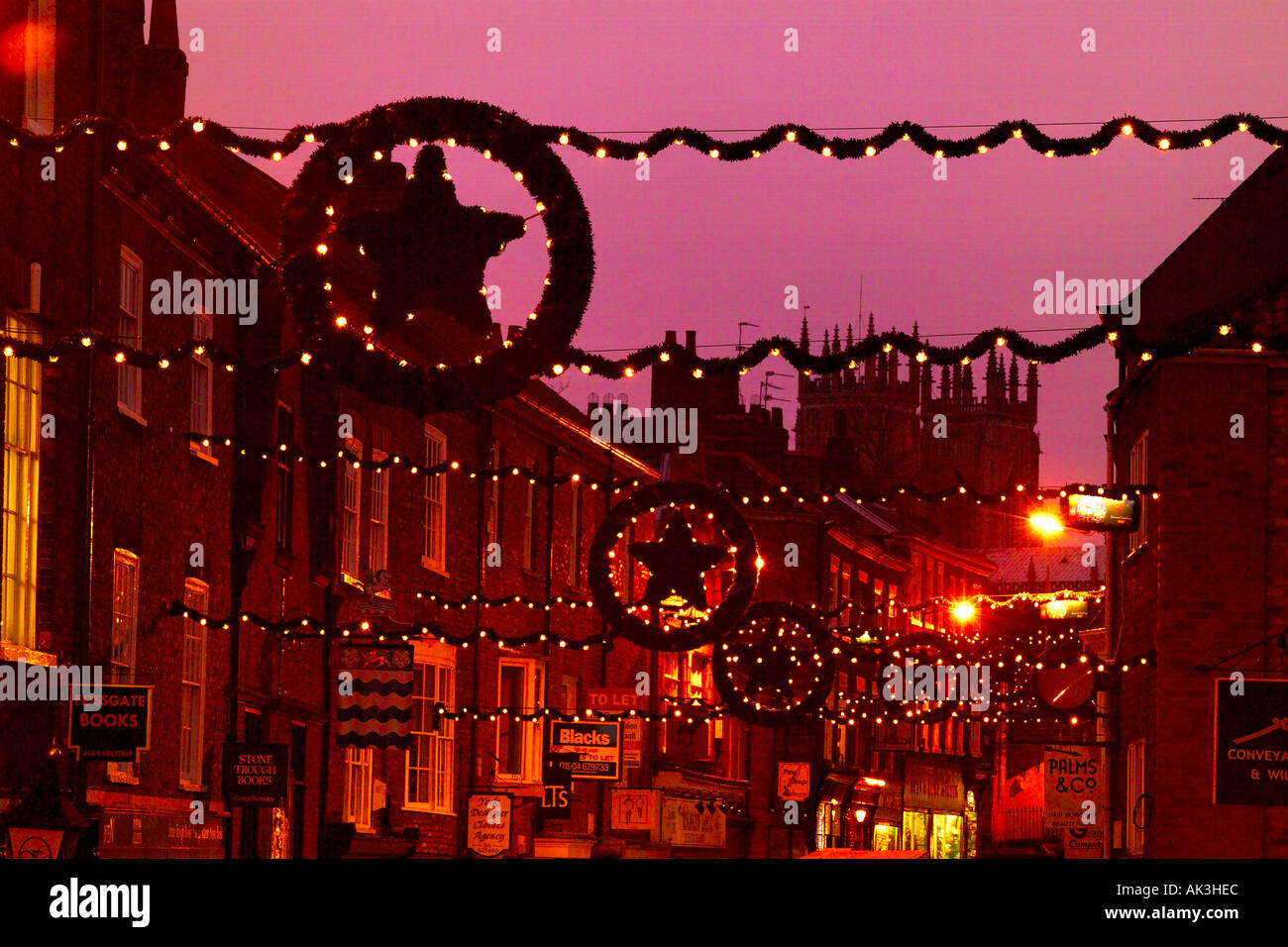 Christmas light display down Fossgate York UK - Stock Image