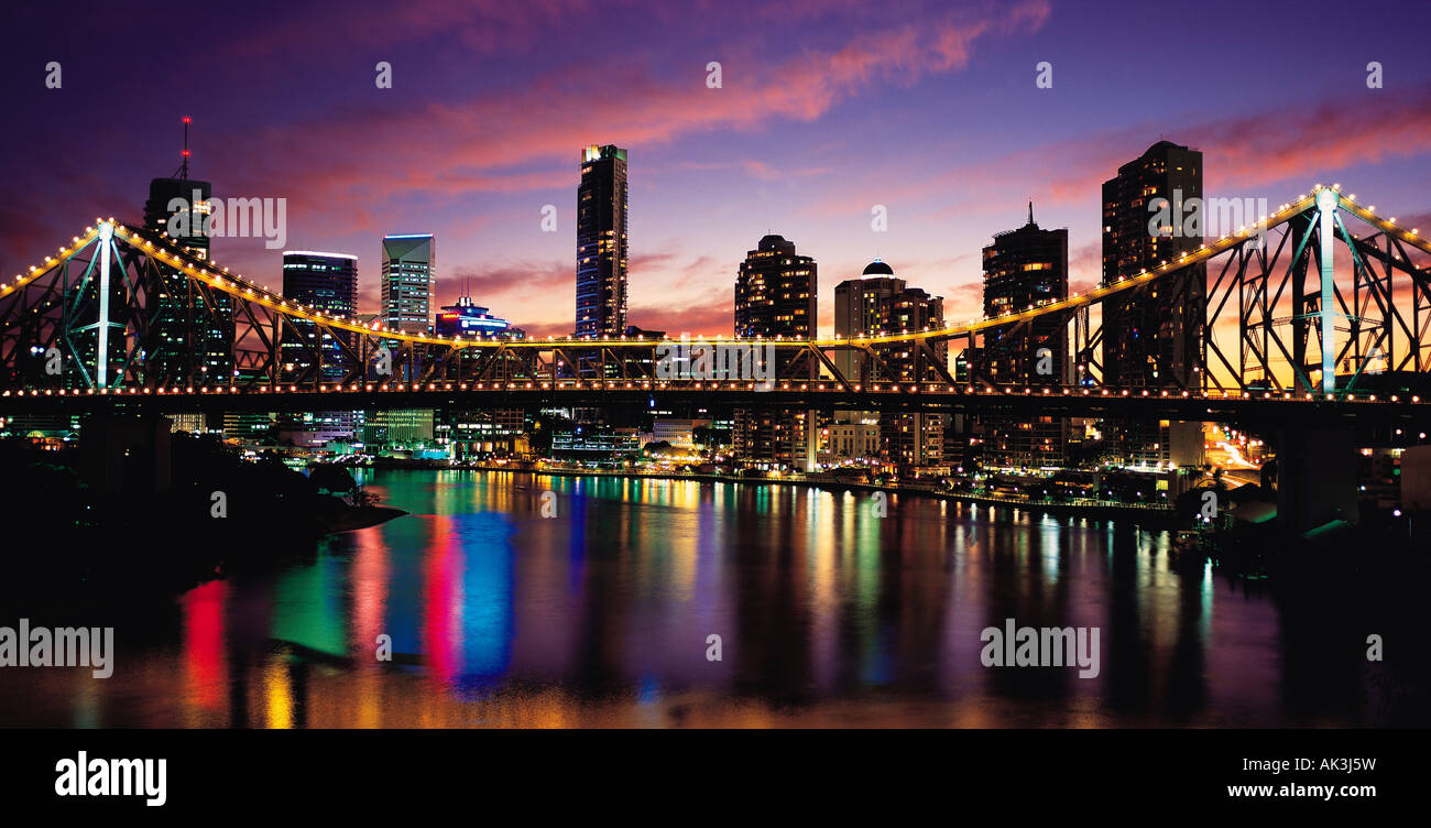 Australia, Queensland, Brisbane, Story Bridge, Night view, - Stock Image