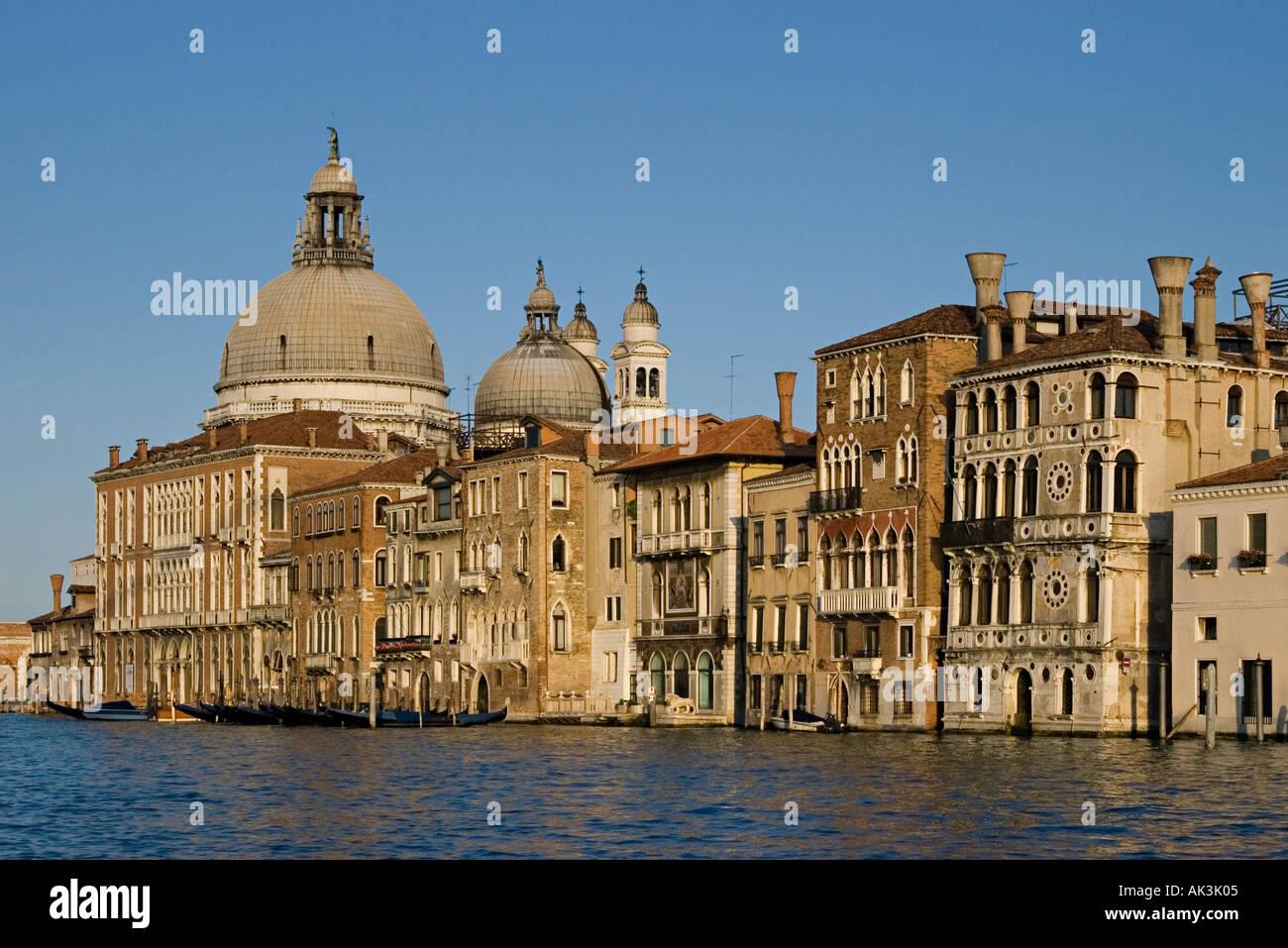 Santa Maria della Salute and Palazzi along the Grand Canal near the Accademia bridge Venice 2005 - Stock Image