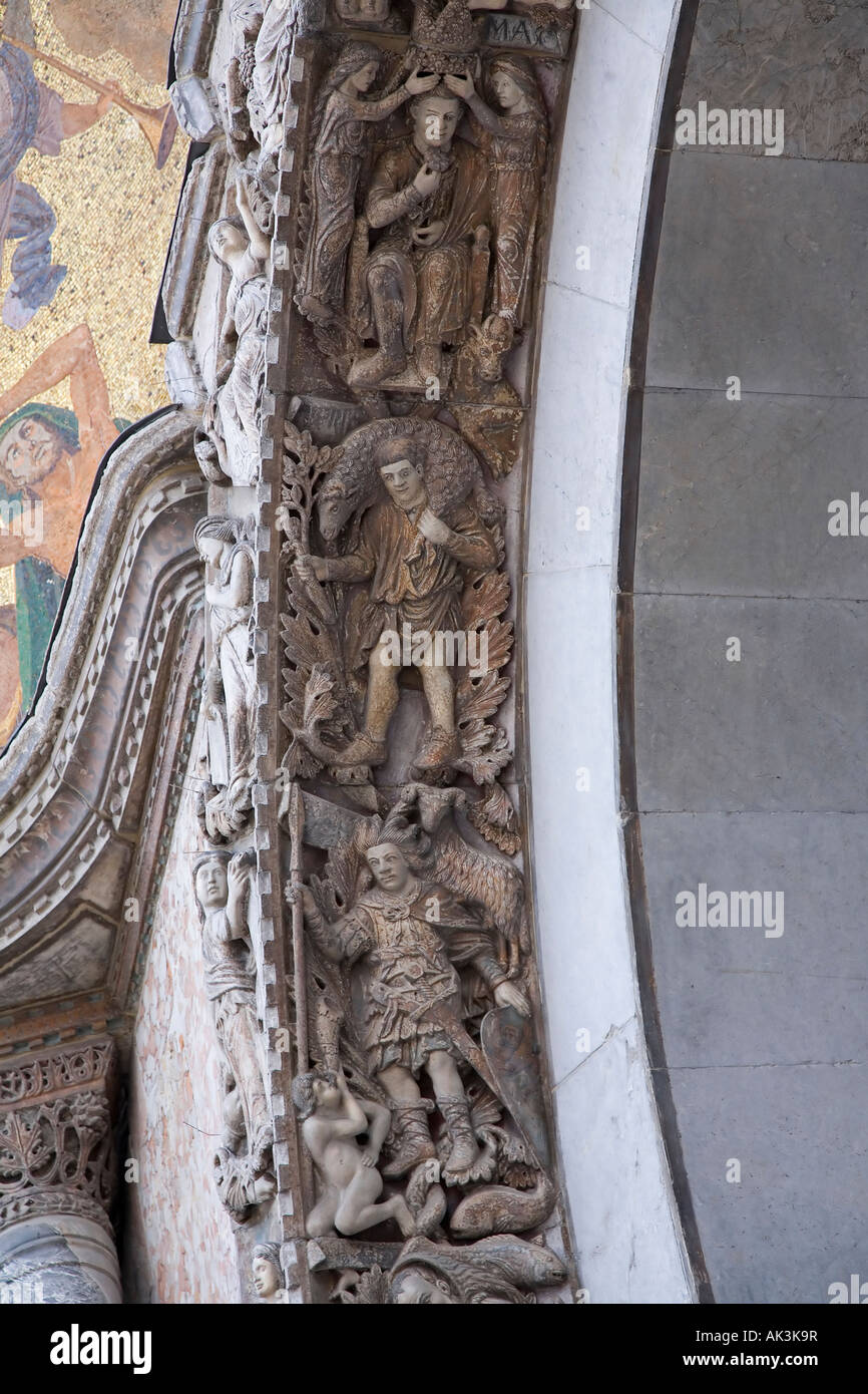 Basilica San Marco central doorway carvings detail 13th century ...