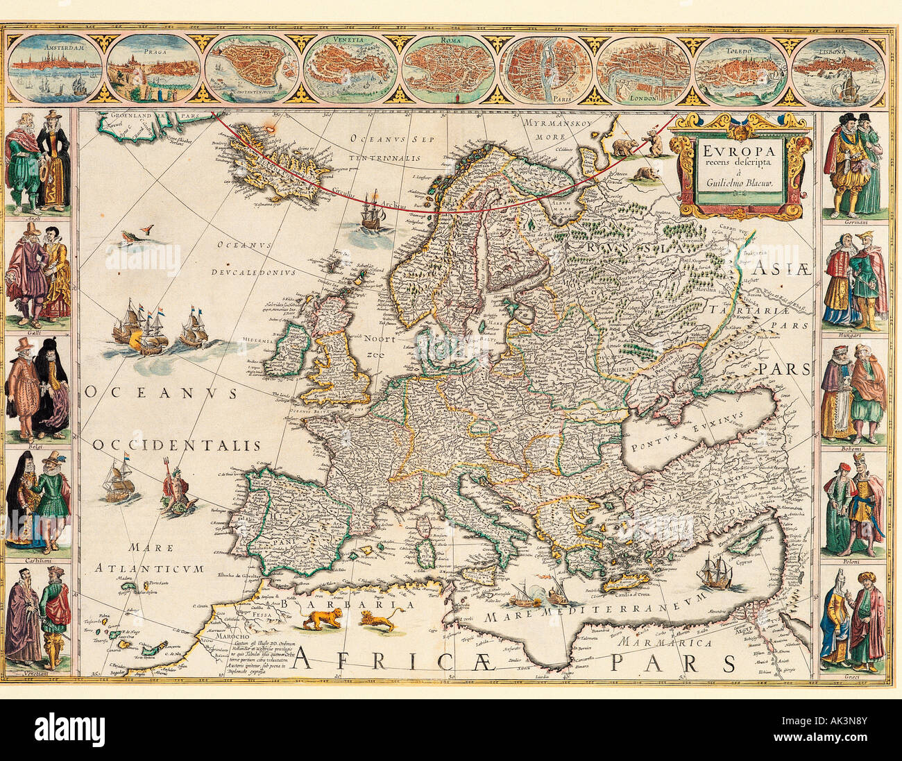 Historical map of Europe Stock Image