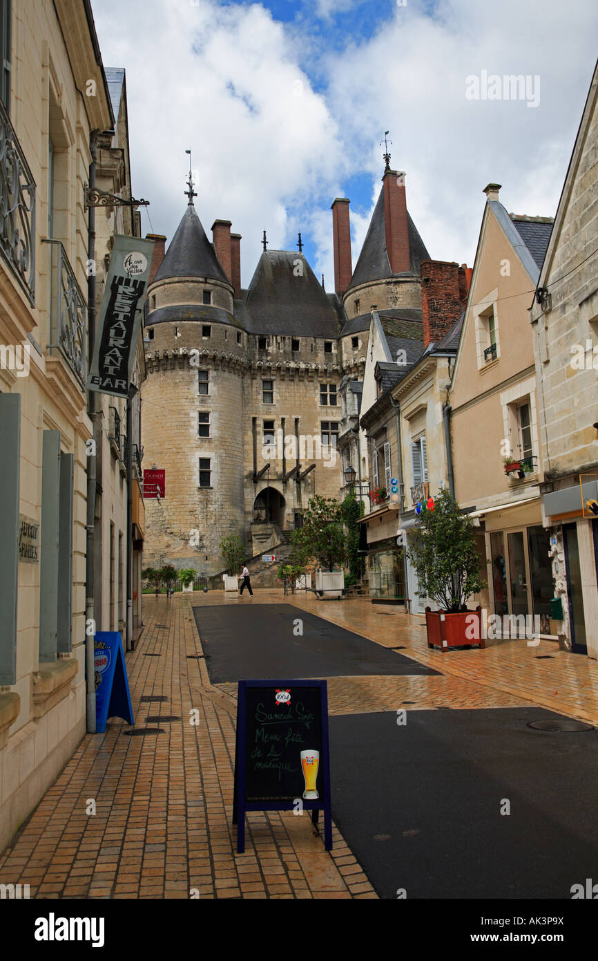 The main street and Château at Langeais in the Indre et Loire Centre France - Stock Image