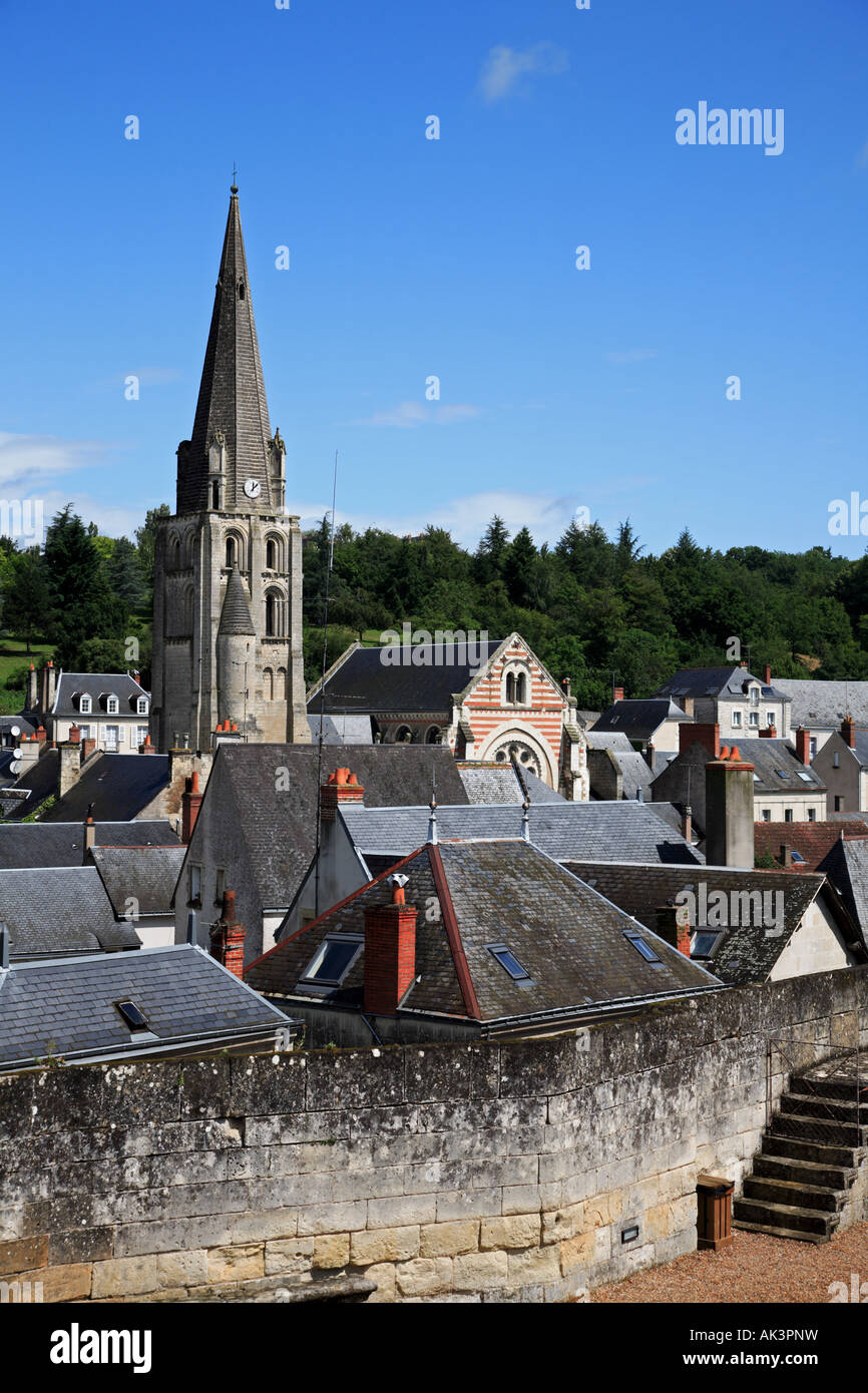 The rooftops of Langeais in the Indre et Loire Centre France Stock Photo
