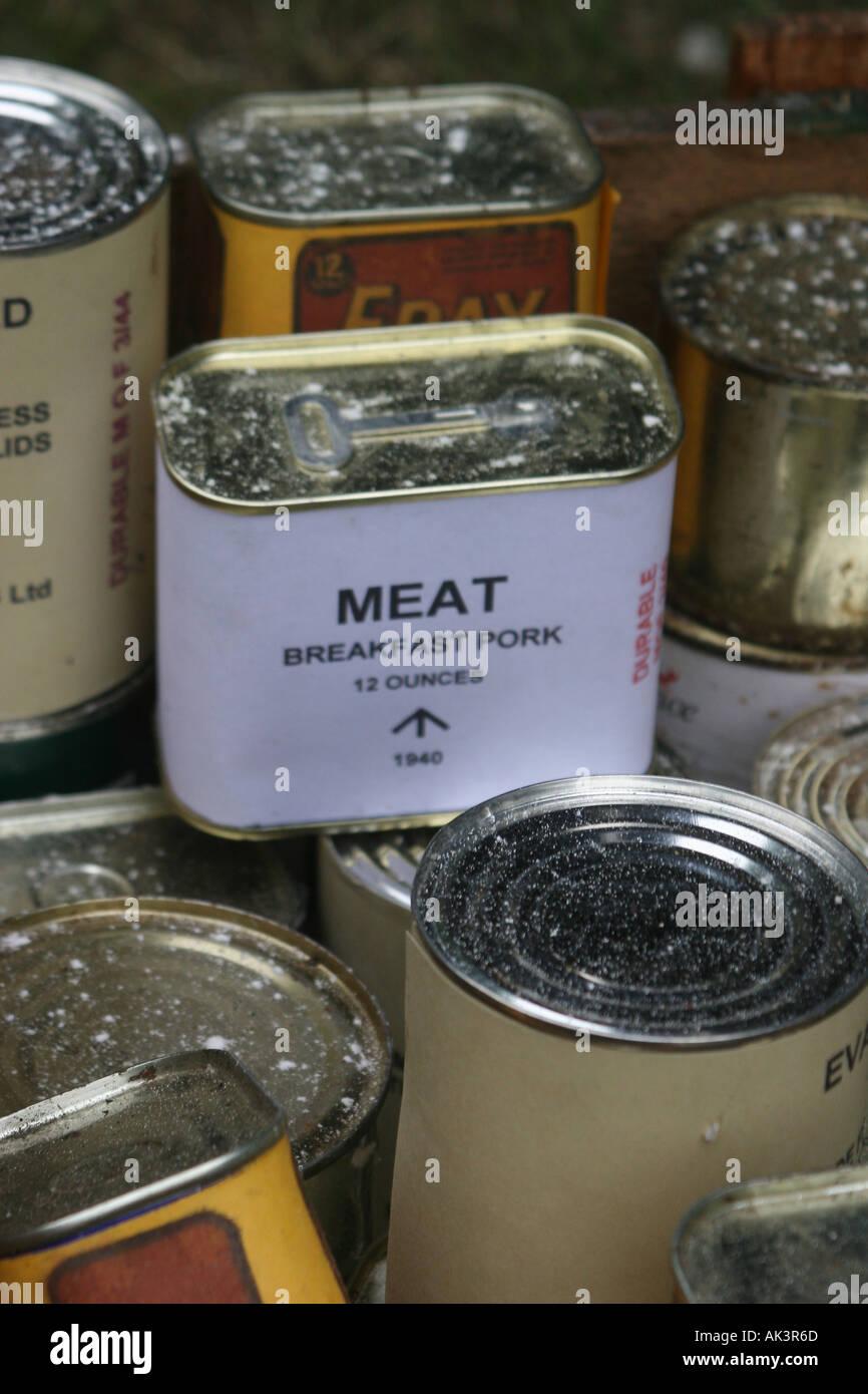 Authentic Second World War British food stuffs tins - Stock Image
