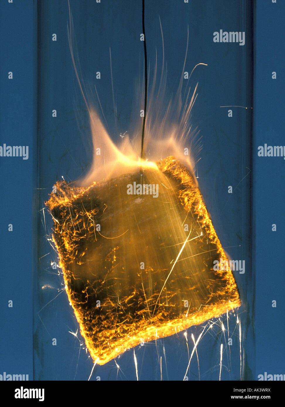 Burning Steel wool in Oxygen Environment Stock Photo