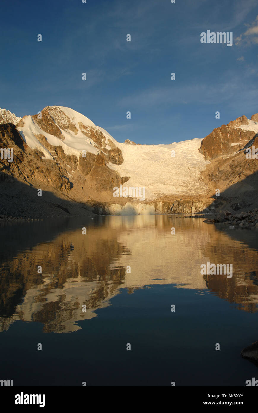 The Lagunas Glaciar is located below Mount Illampu at 5 038 meters outside of Sorata Bolivia South America - Stock Image