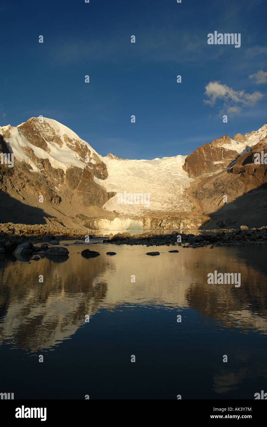 The Lagunas Glaciar is located below Mount Illampu at 5,038 meters outside of Sorata, Bolivia, South America. - Stock Image