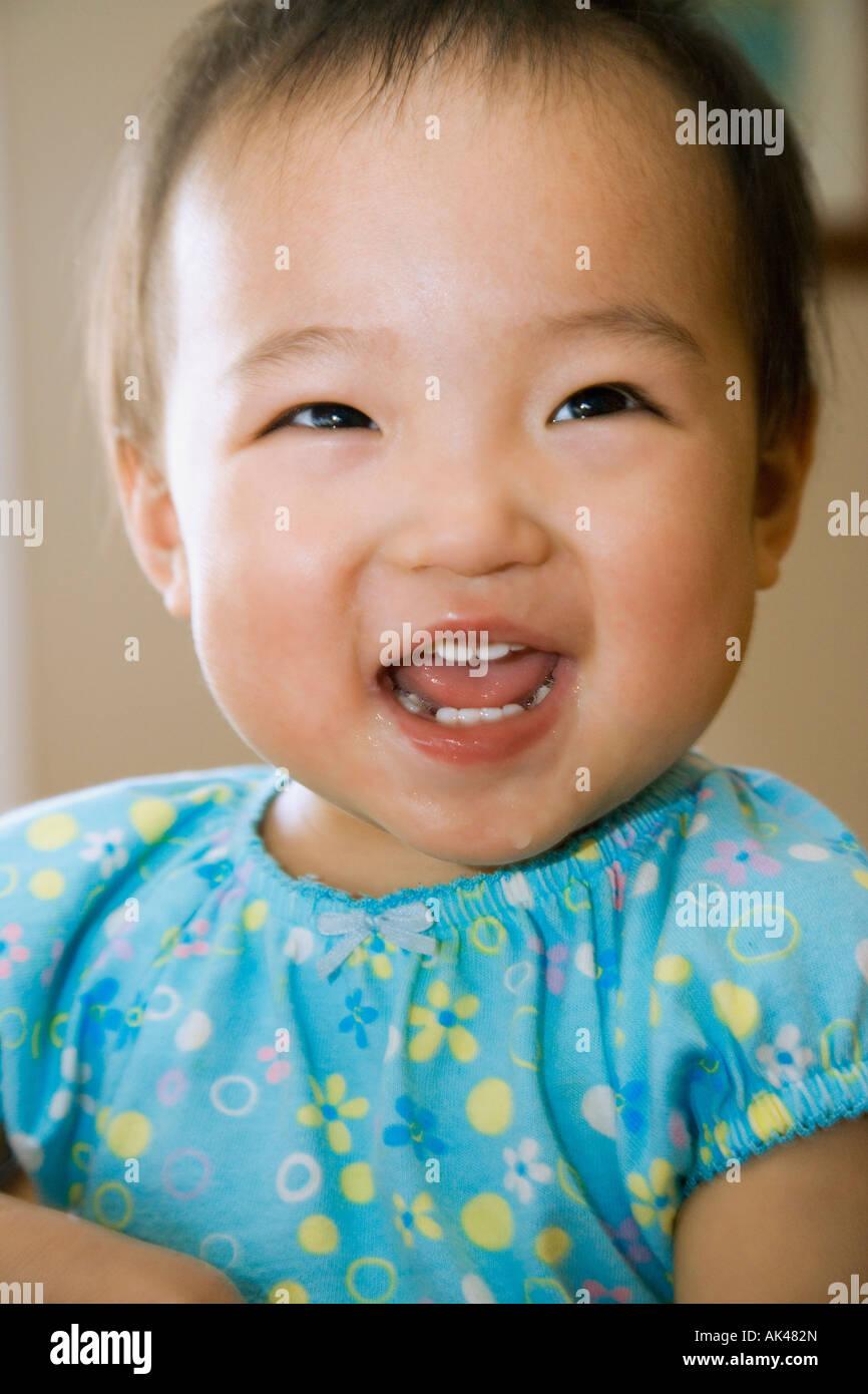 Portrait of happy baby - Stock Image